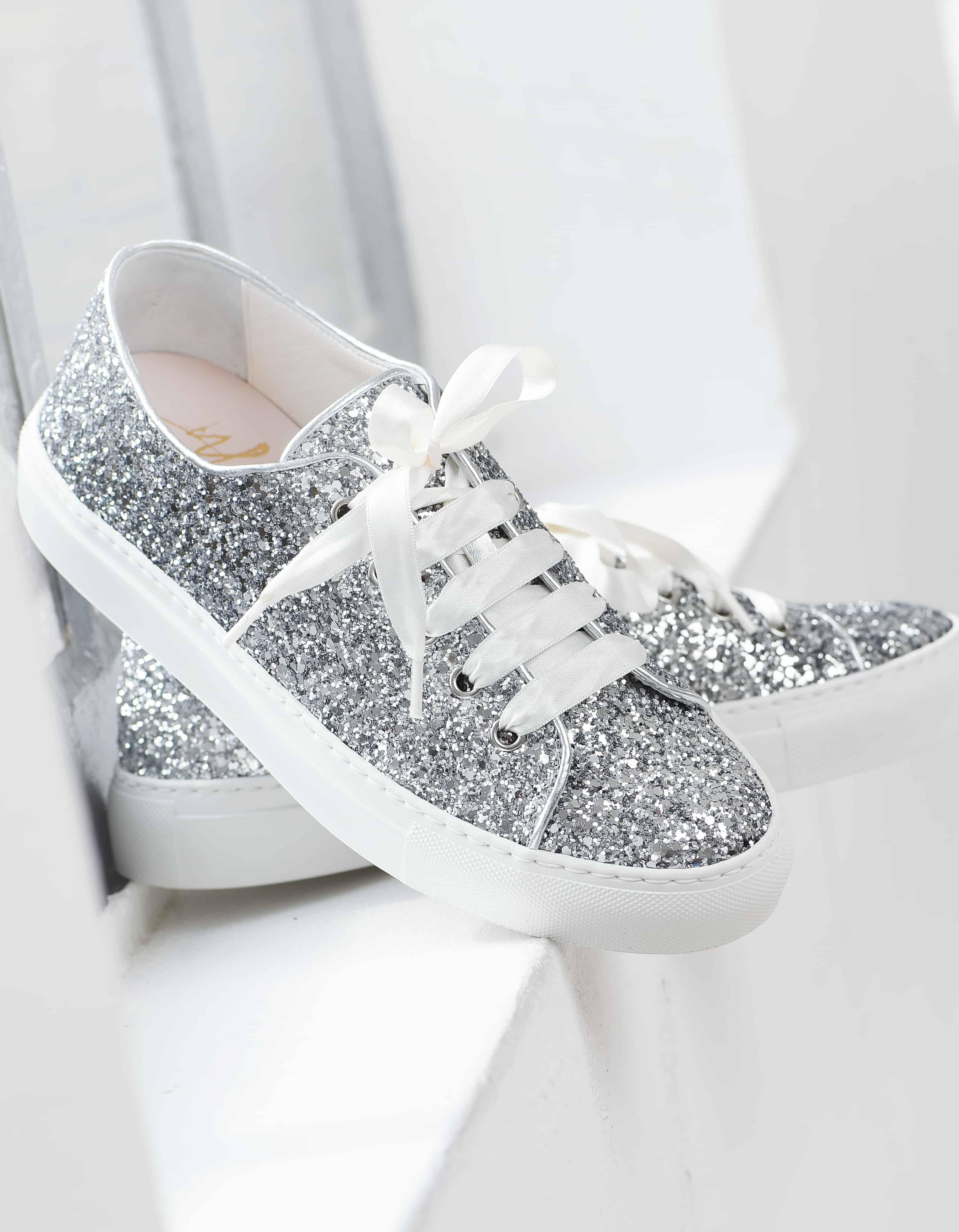 Bruidsschoenen Trouwschoenen Sneakers zilverkleurig Suzan Silver