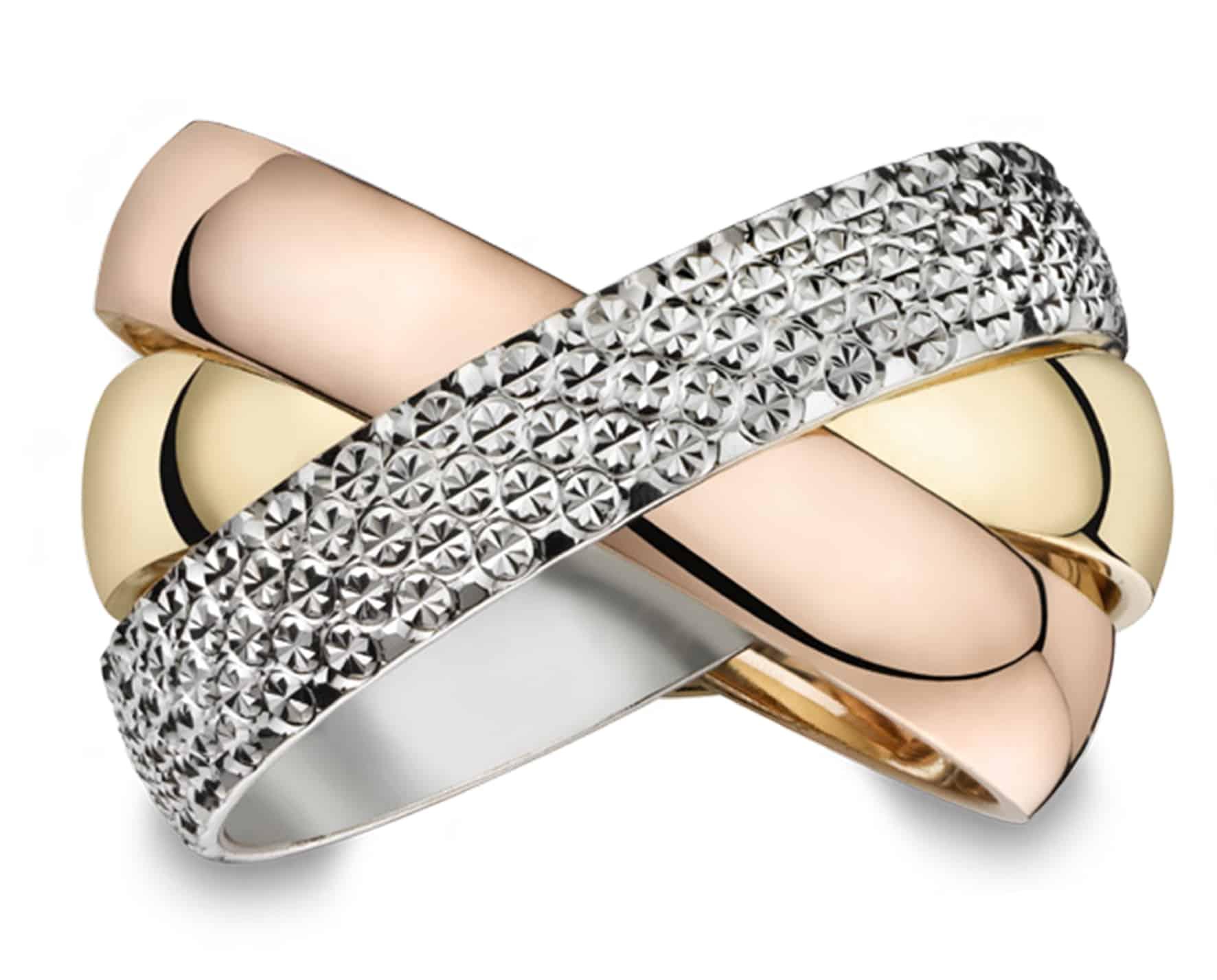 Klassieke Trouwringen Goud Titanium Diamant - tricolor wit geel en rood goud