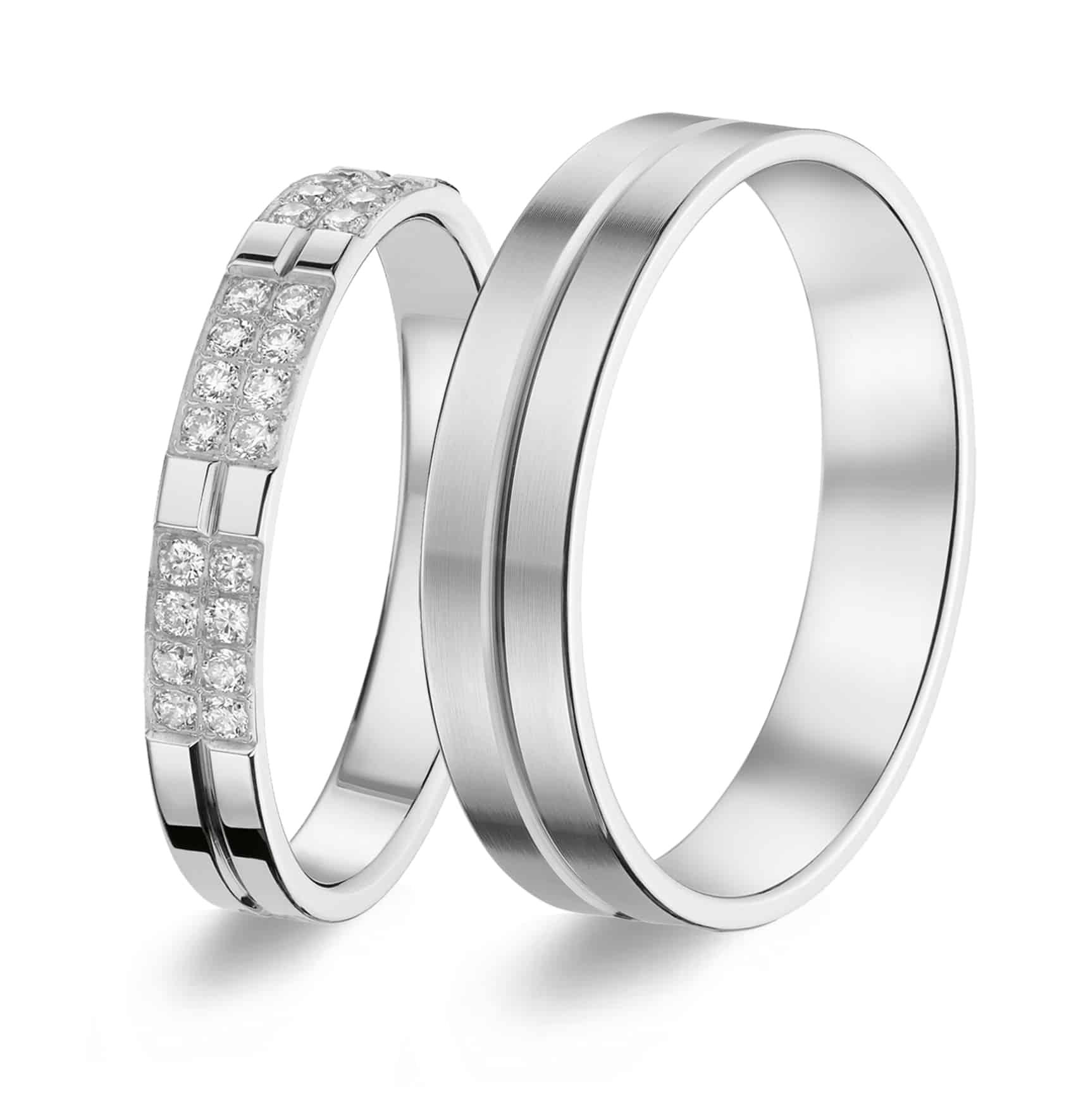 Trouwringen Goud Titanium Diamant