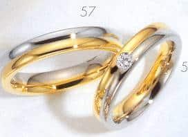 Trouwringen Bicolor wit en geel goud met briljant voor damesring