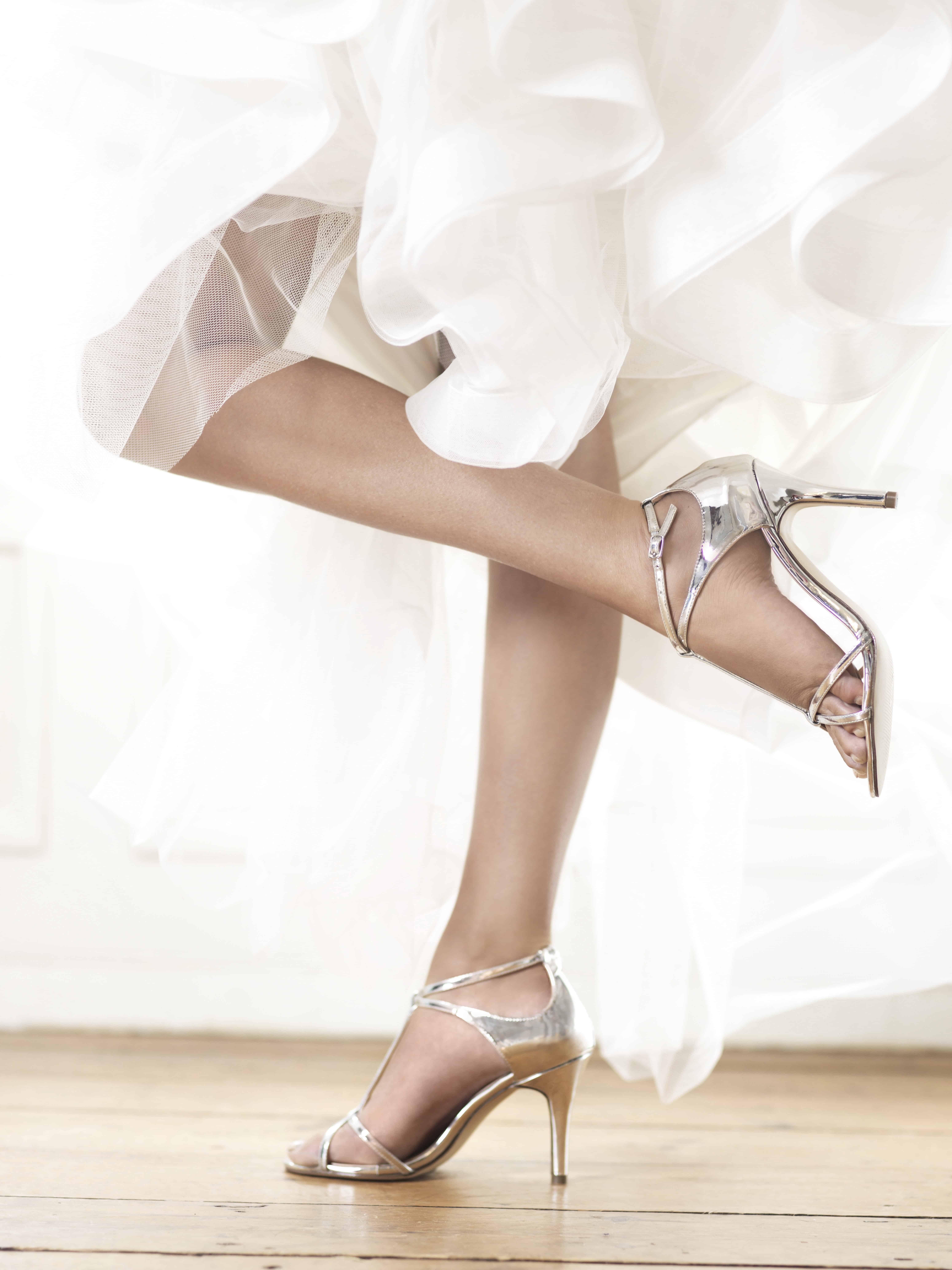 Bruidsschoenen Trouwschoenen Bruid Sandalen hoge hakken Zilver Grijs