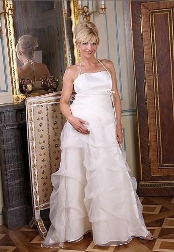 Zwangerschap bruidsjurk bustier en rok met rushes