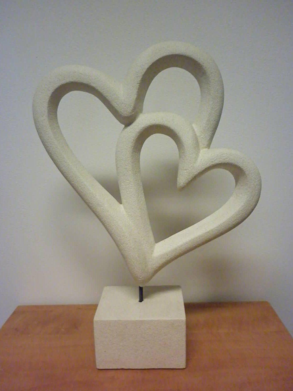 Beeld kunst wit 2 harten