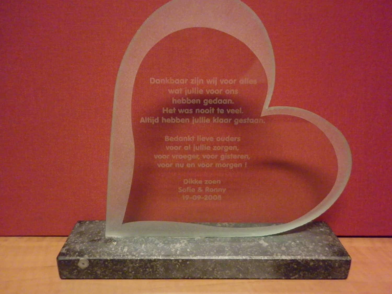 Dankgeschenk glazen hart op arduin tekst
