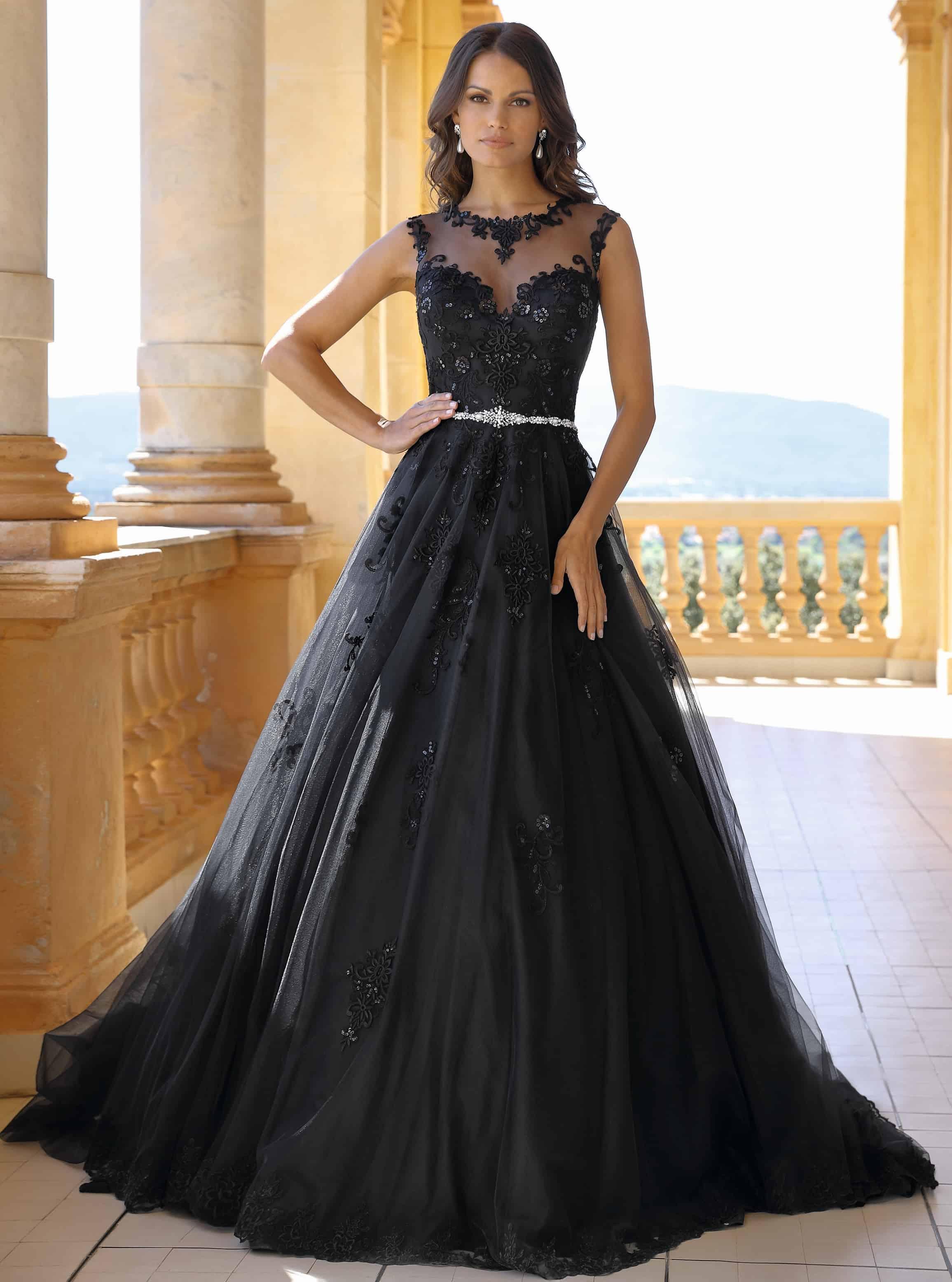 Triouwjurk zwart prinsessenjurk