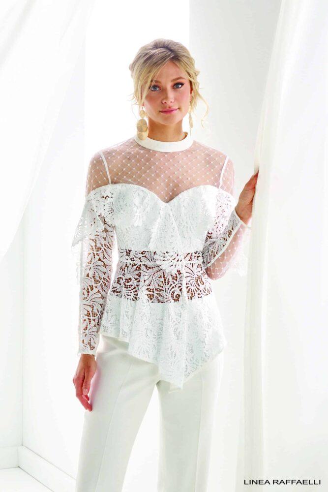 Bruidswinkel met Bruidsbroekpak jumpsuit Linea Raffaelli B20 Set 051