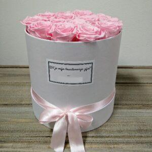 Boeket Gevriesdroogde Roze Rozen in Witte Pot