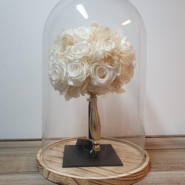 Bruidsboeket droogboeket DAV011 witte rozen onder stolp