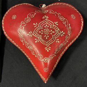 Metalen Rood Hart met versiering 25cm Valentijnsgeschenk of Trouwdecoratie