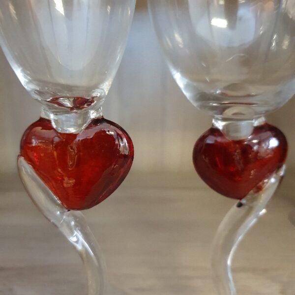 Liefdesglazen Wijn Rood Hartje op voet