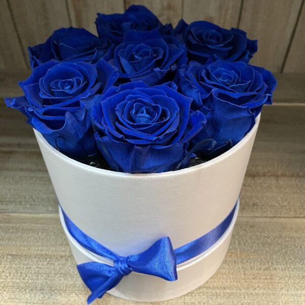 Boeket Gevriesdroogde Rozen blauw in witte pot