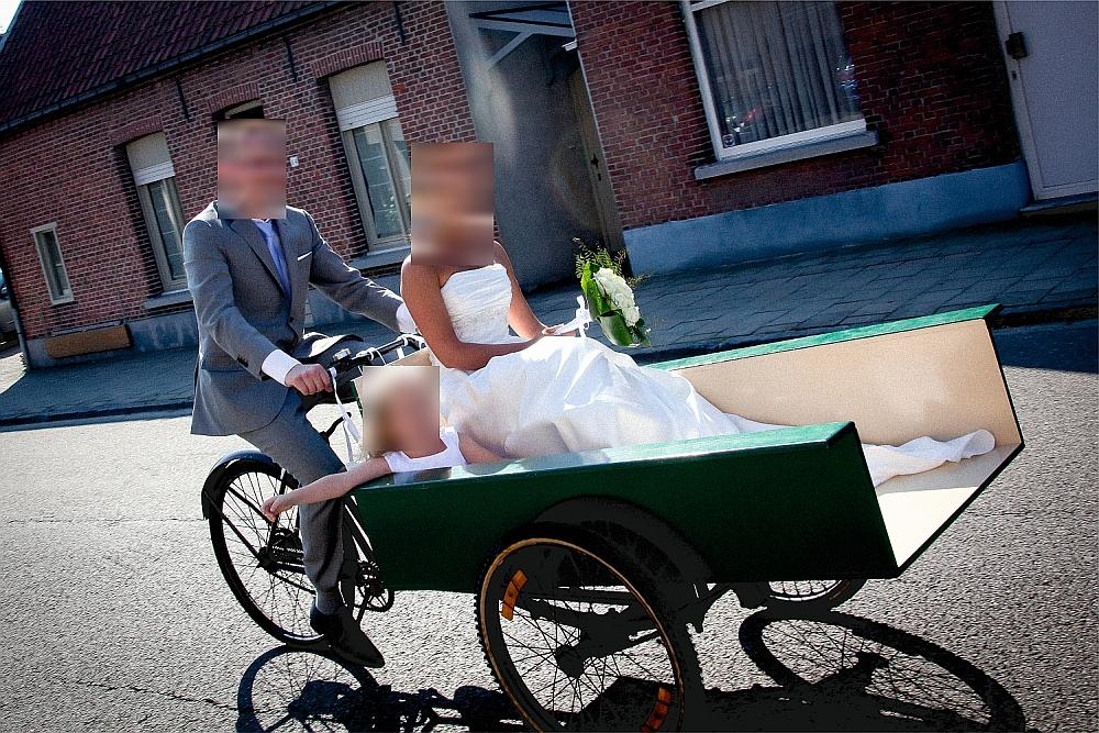Retro Bakfiets plat voor bruidspaar
