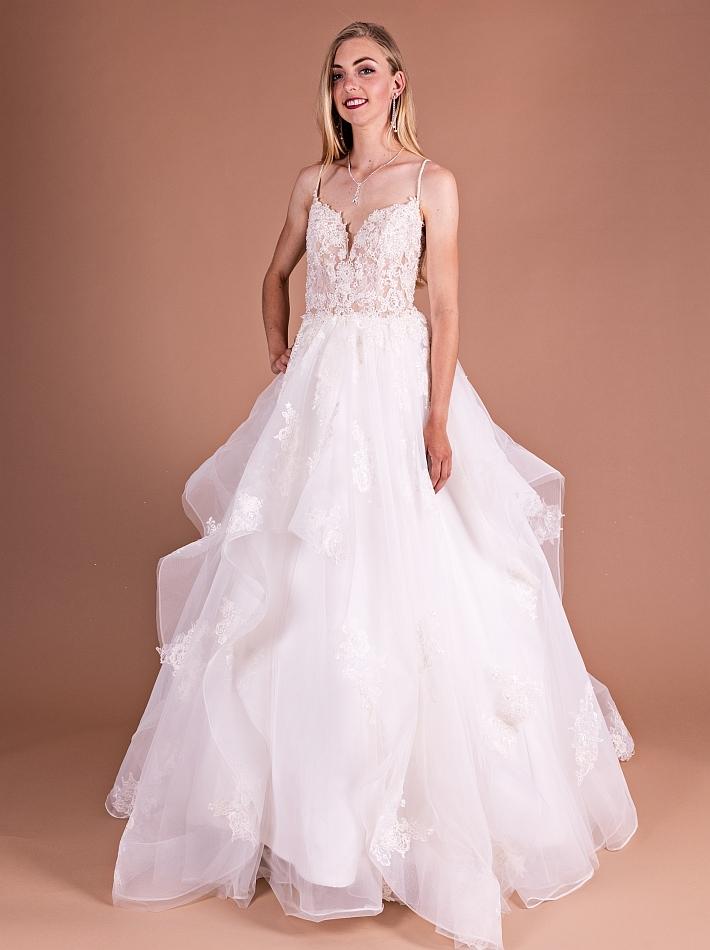 Bruidsjurken Romantisch met stroken rok
