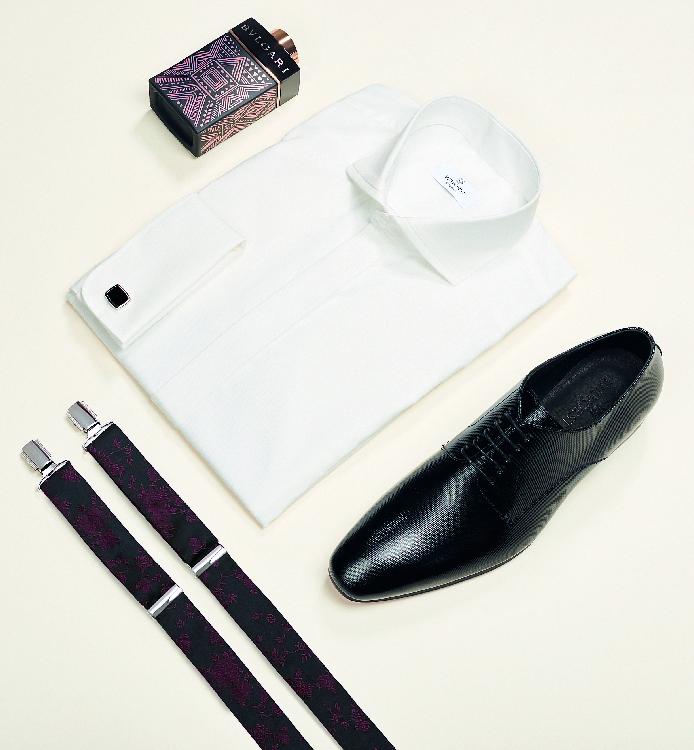 Trouwkostuums Bruidegom Accessoires Schoenen Hemd Bretellen Manchetknopen