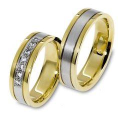 Wit mat Goud met geel gouden rand Trouwringen met aantal Diamant Sieger