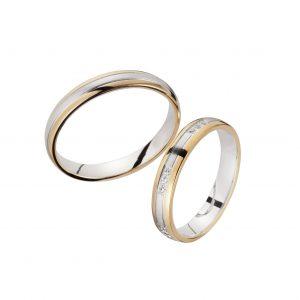Wit gouden Trouwringen met Geel Gouden rand, met Diamant Sieger
