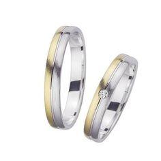 Trouwringen Wit Geel Goud Diamant Sieger bicolor